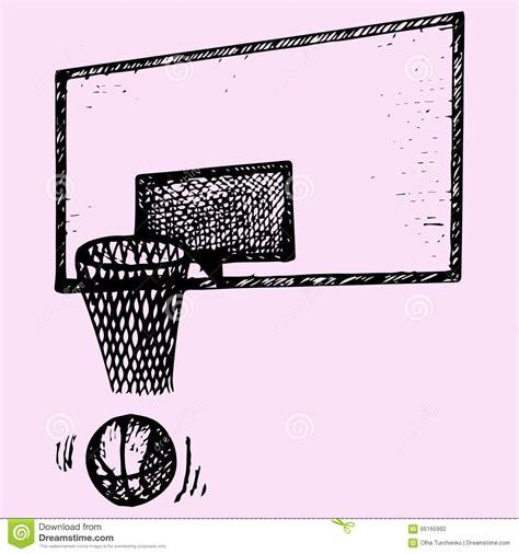 doodle basket basketball backboard basket and in movement stock