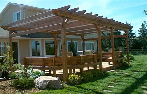 pergola bench wood pergola with bench seating and a deck lone star
