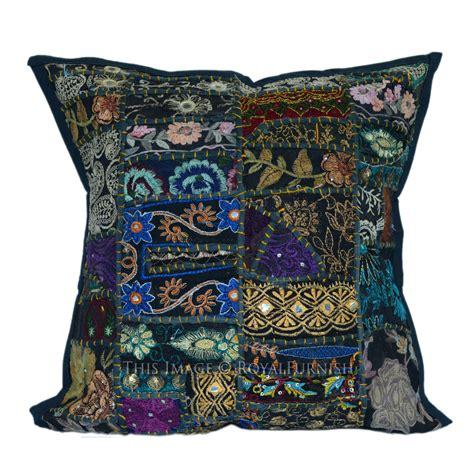 Stitched Pillows by 16x16 Quot Black Stitched Sari Patchwork Cotton Pillow