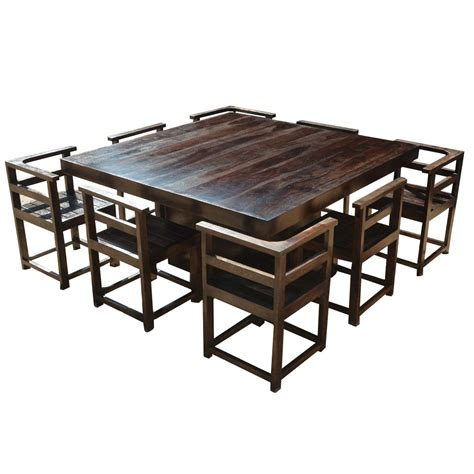 Modern rustic solid wood 64 quot square pedestal dining table amp 8 chairs