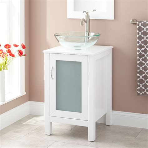 19 Quot Claxton Vessel Sink Vanity White Bathroom Modern Sink Cabinets For Bathrooms