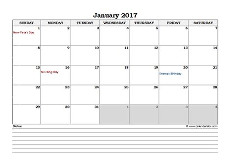 calendar with notes template 2017 excel monthly calendar with notes free printable
