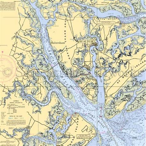 Coastal Style Area Rugs South Carolina Beaufort Broad River Nautical Chart Decor