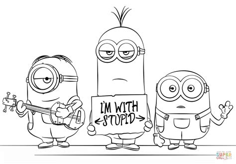 super minion coloring page click the king pig and minion coloring pages super