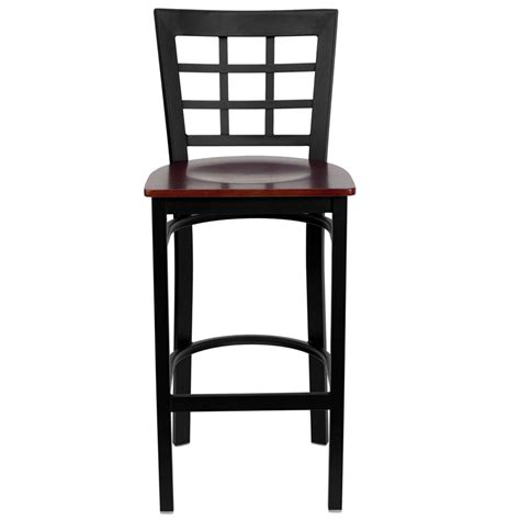 Restaurant Bar Stools With Backs | black window back metal restaurant barstool with mahogany