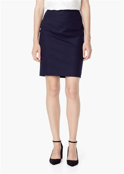 Cotton Pencil Skirt lyst mango cotton pencil skirt in blue