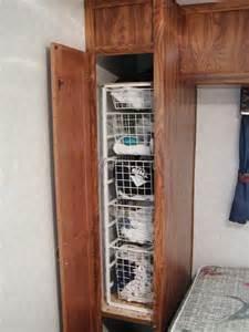 rv closet shelves and wire baskets modmyrv