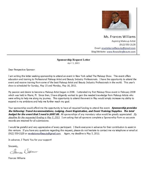 Sponsorship Query Letter sponsorship letter for sports image collections