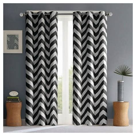black and white chevron curtains ribbon trim panel with grommet top ivory with black trim