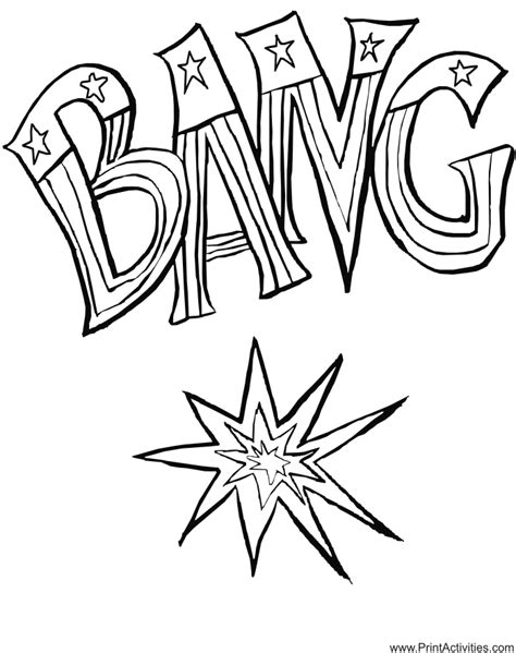firecracker coloring page the word bang in flag stars