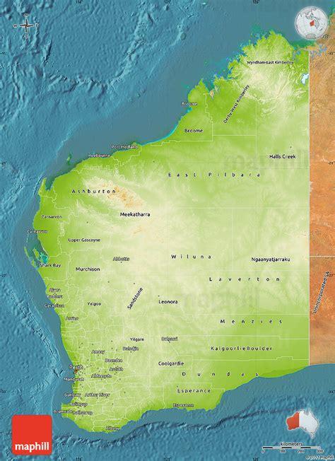 map of western australia physical map of western australia satellite outside