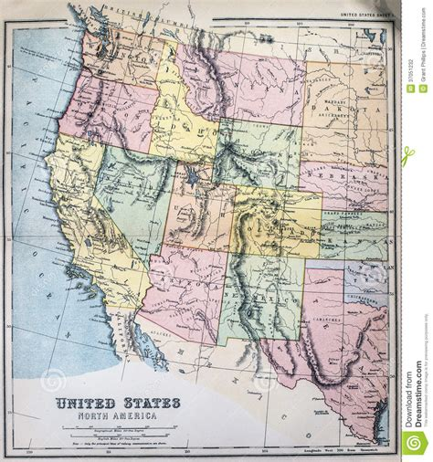 map of western states usa antique map of western states of usa stock photo image