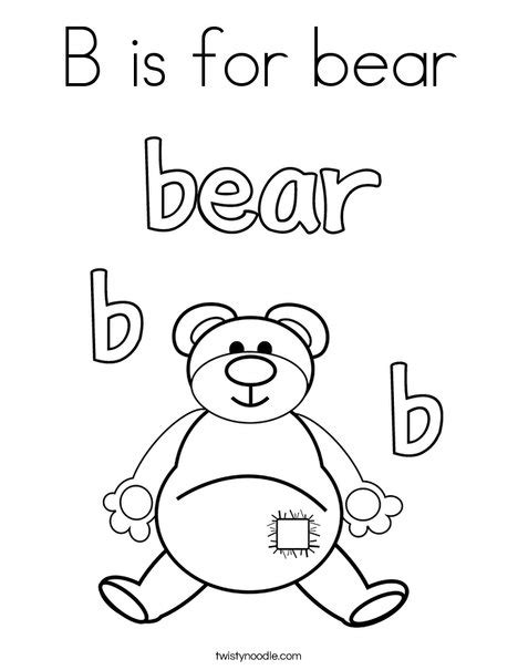 coloring pages for going on a bear hunt b is for bear coloring page twisty noodle