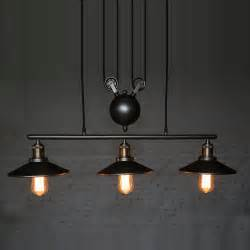 Hanging Dining Room Lights Industrial Country Creative Pulley Design Black Iron Hang Painted Ceuling Light Dining Room Bar