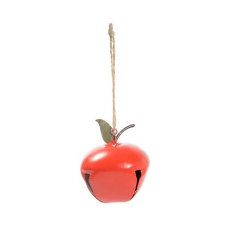 gisela graham red tin apple bell hanging decoration from