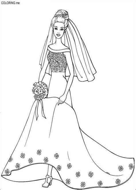coloring page barbie wedding dress coloring me