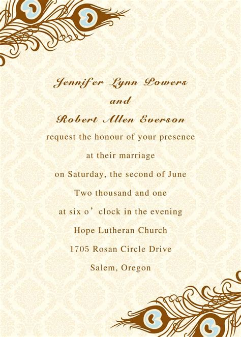 printable peacock wedding invitations ewi156 as low as 0 94