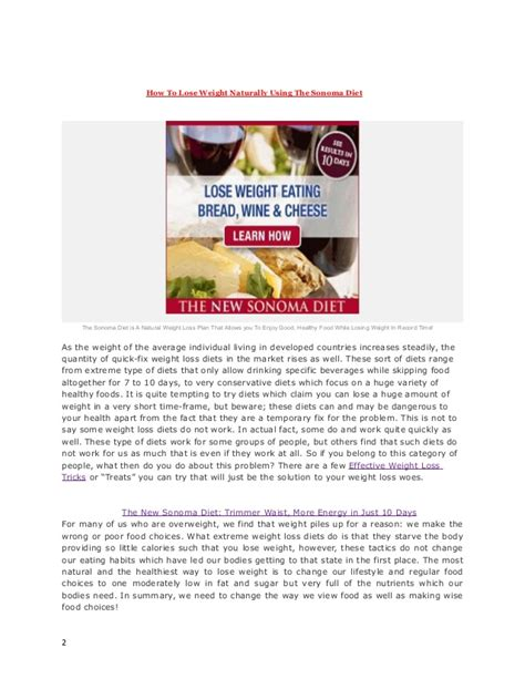 Sonoma Diet The Sonoma Diet Cookbook by How To Lose Weight Naturally Using The Sonoma Diet