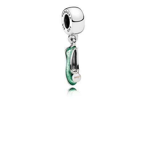 Disney Ariel Silver Dangle With Glittery Green Enamel P 1156 disney tinker bell s shoe dangle charm white cultured pear