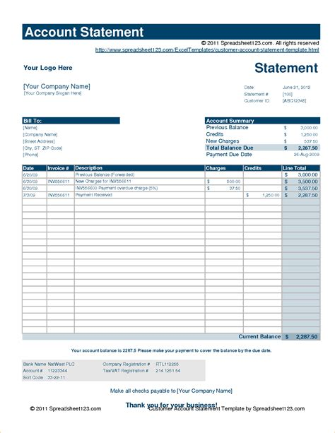 statement account template statement of account template sle statement of account