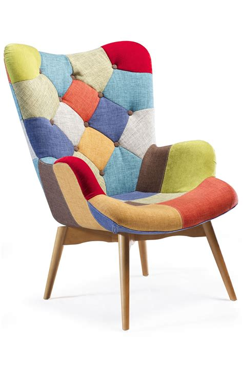 multi coloured chairs patch lounge chair in multi color and ash legs n 225 bytek