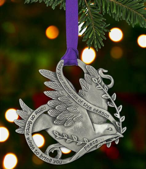memorial holiday pewter ornament dove of peace