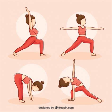 tutorial de yoga gratis mujer dibujada a mano en cuatro posturas de yoga