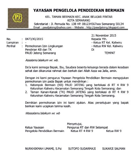 contoh surat izin lingkungan pendirian tk kb tpa dari rt