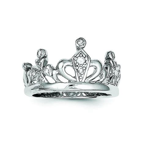sterling silver cubic zirconia crown ring ring size 6