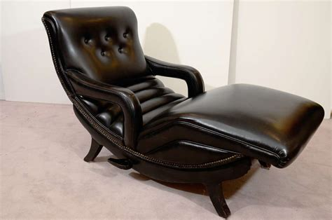 lounge recliner mid century reclining chaise lounge in black leather at