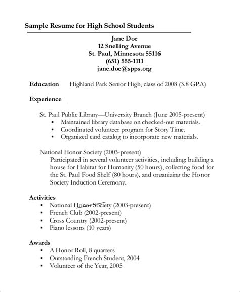 sle resume for highschool students with volunteer experience 9 sle graduate school resumes sle templates