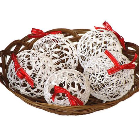 4 lace crochet christmas balls christmas decoration rustic