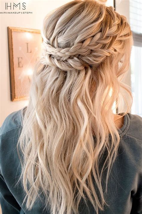 wedding hairstyles half up half down plaits crown braid with half up half down hairstyle inspiration