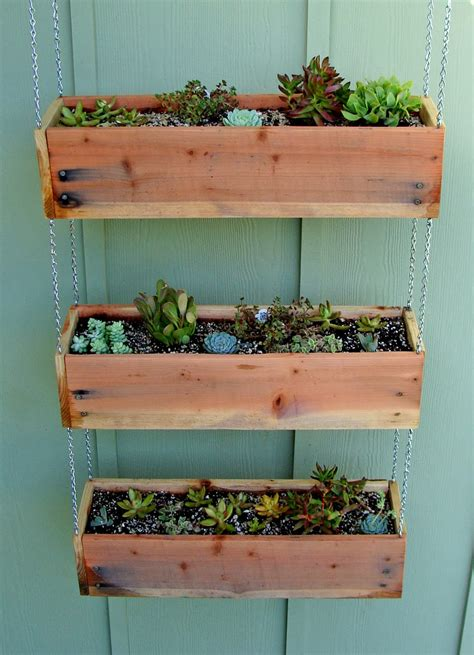 hanging planter box succulent tutorial tiered hanging planter boxes
