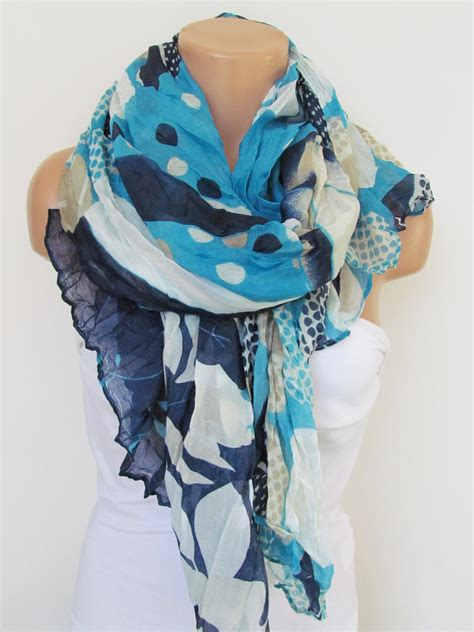 blue pattern scarf navy blue and cream floral polka dot pattern scarf spring