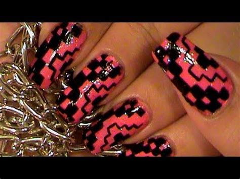nail art checkered tutorial hot pink black nail art design tutorial checkers youtube