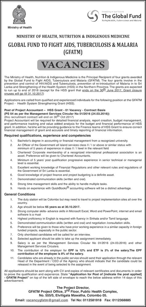 Project Accountant by Vacancies Project Accountant Ministry Of Health Nutrition And Indigenous Medicine Derana