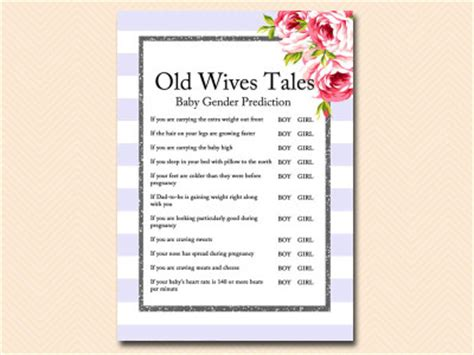 old wives tales determining the gender of your baby purple chic baby shower games magical printable