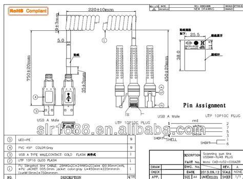 Kabel Ps 2 Genuine Motorola Symbol Scanner Barcode Scanner Barcode opgerolde of rechte barcode scanner usb naar rj45 kabel
