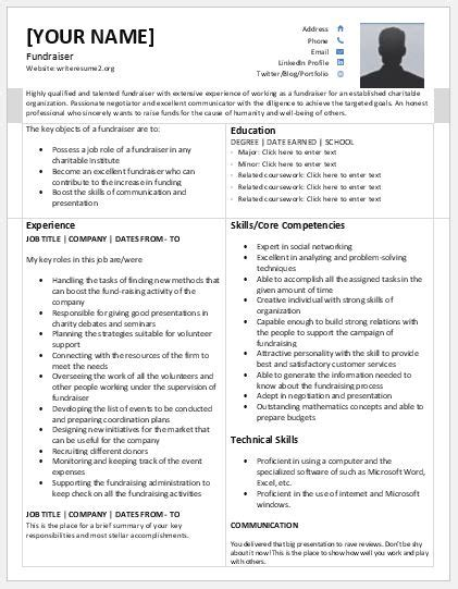Fundraising Resume by Fundraiser Resume Templates For Ms Word Resume Templates