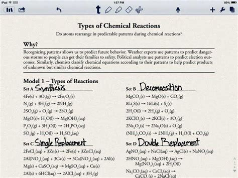Types Of Chemical Reactions Lab Worksheet Answers