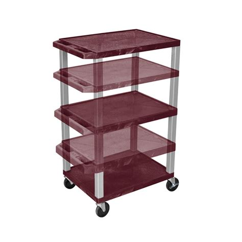 Multi Shelf Cart by Luxor Wt1642by N Burgundy 3 Shelf Multi Height Cart