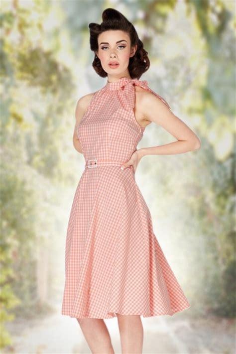 peach swing dress 50s chelsea gingham swing dress in peach