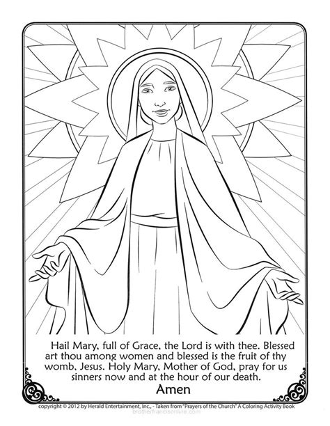 free coloring pages of hail mary prayer