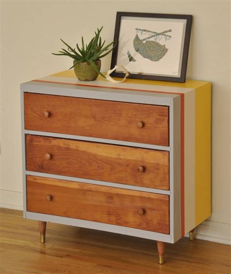 Striped Dresser by Striped Mid Century 3 Drawer Dresser Trevi Vintage Design