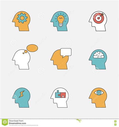 human thinking process color line icons stock vector