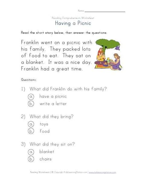 Easy Reading Comprehension Worksheets by Beginner Reading Comprehension Worksheet A Picnic