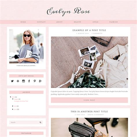 design bloggers evelyn rose pastel pink responsive blogger template