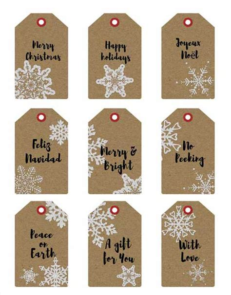 printable brown kraft tags printable christmas gift tags featuring kraft paper texture