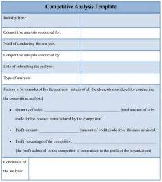 competitive analysis templates analysis template for competitive sle of competitive
